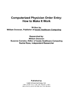computerized physician order entry report